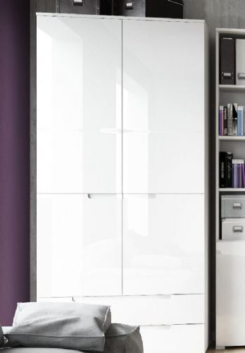 Santino White High Gloss 2 Door 2 Drawer Wardrobe S28 - 2925